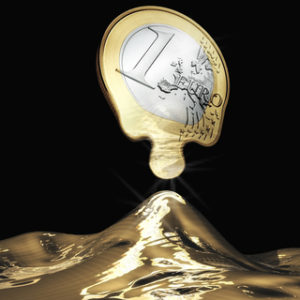 Melting Euro coin